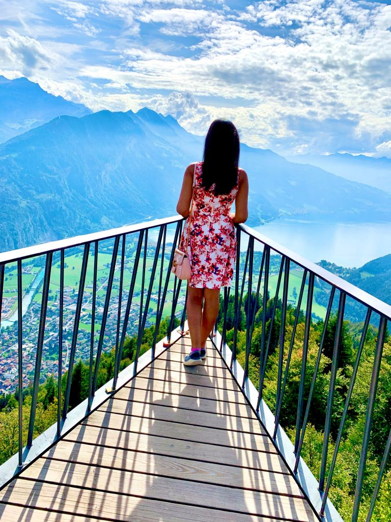 View of Lake Brienz from Harder Kulm Interlaken Switzerland