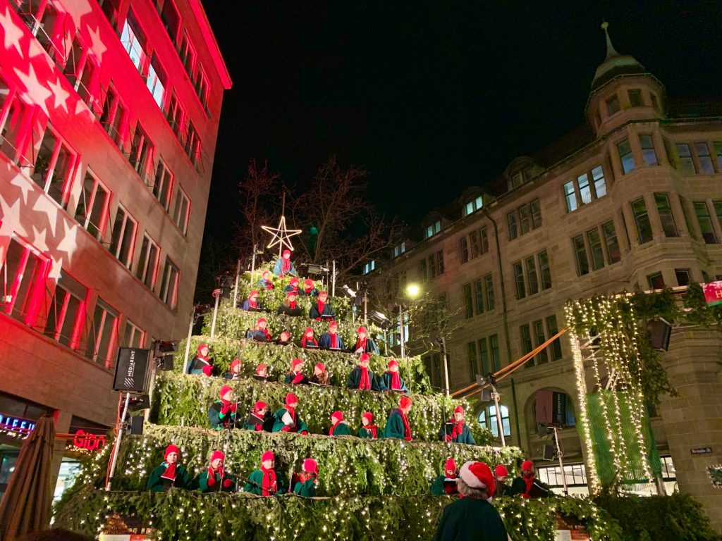 Singing Christmas tree; Christmas in Zurich is one of the best things to do