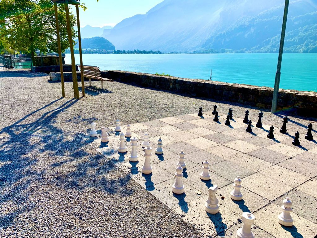 Lake Brienz promenade chess board
