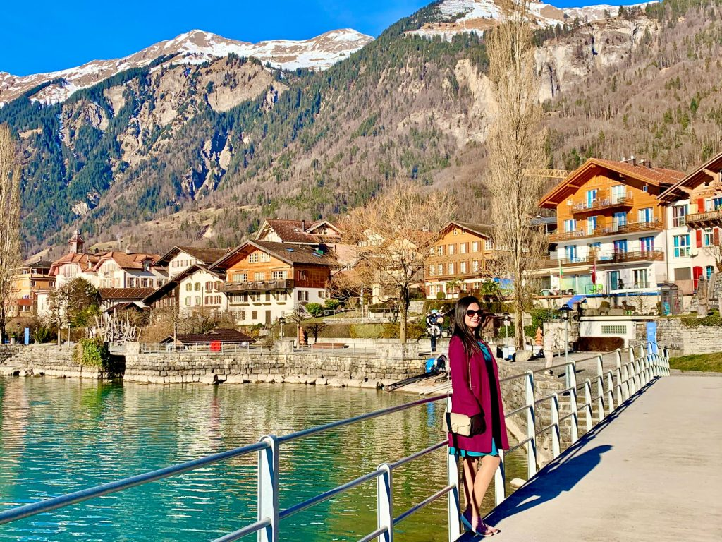 Lake Brienz promenade in Brienz Switzerland