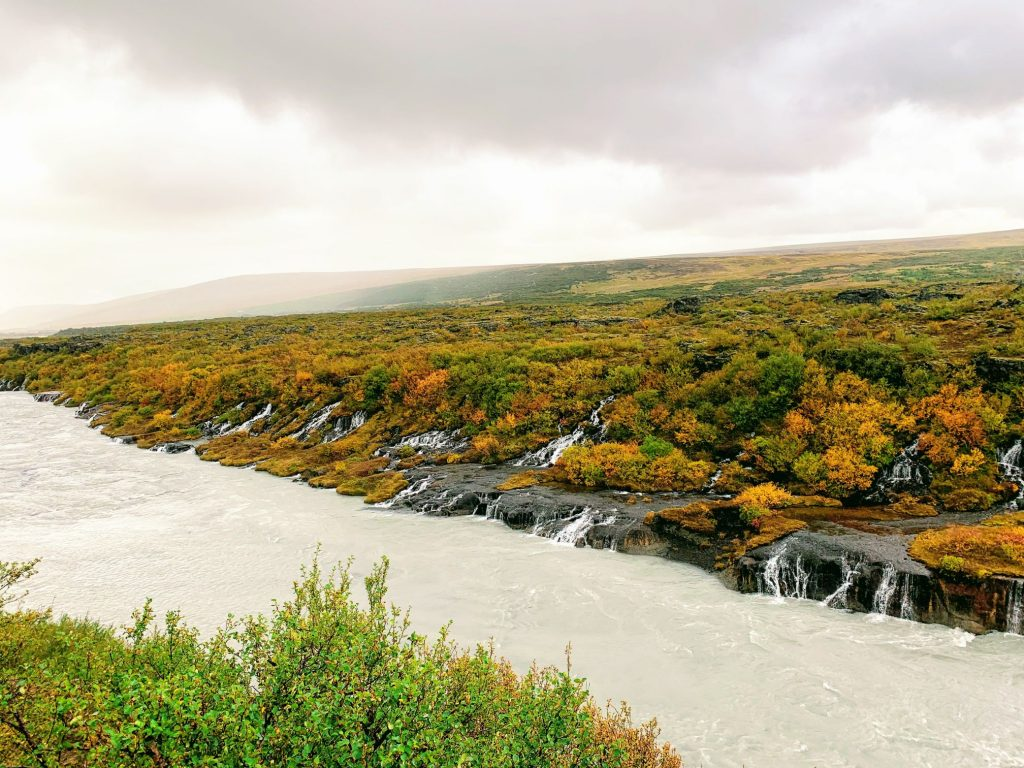 The lava waterfalls in Iceland - Hraunfossar