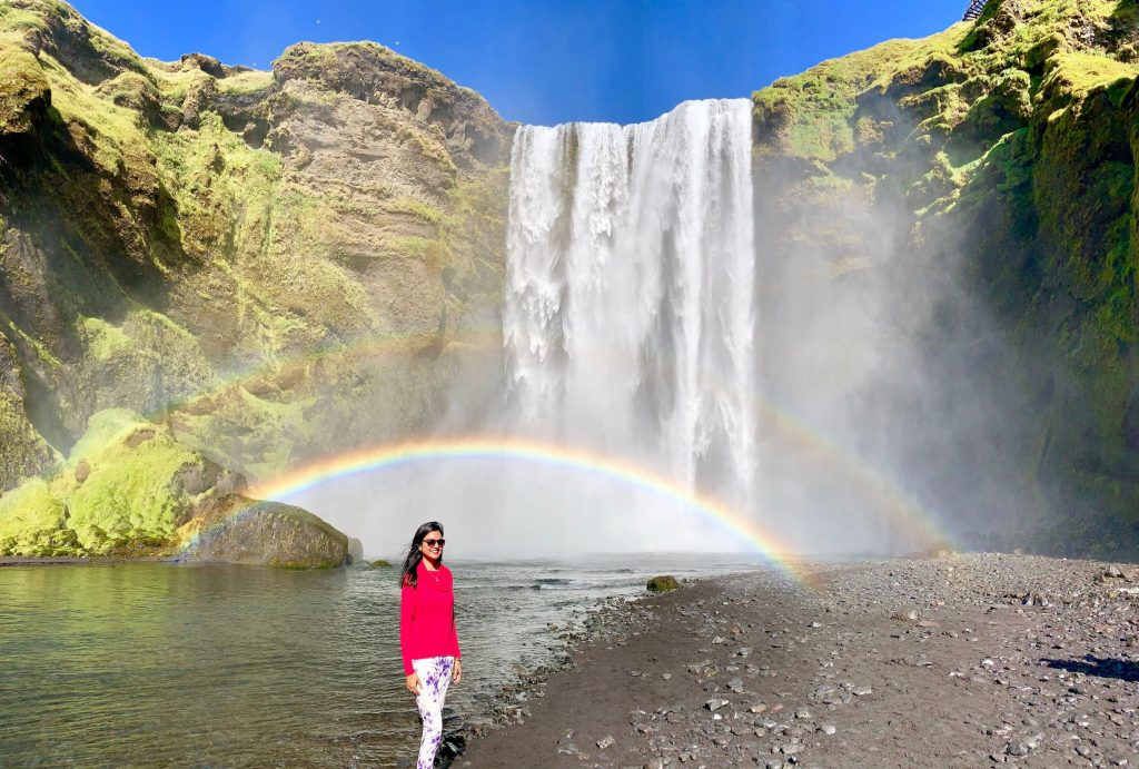 Skógafoss - Iceland waterfall with rainbow