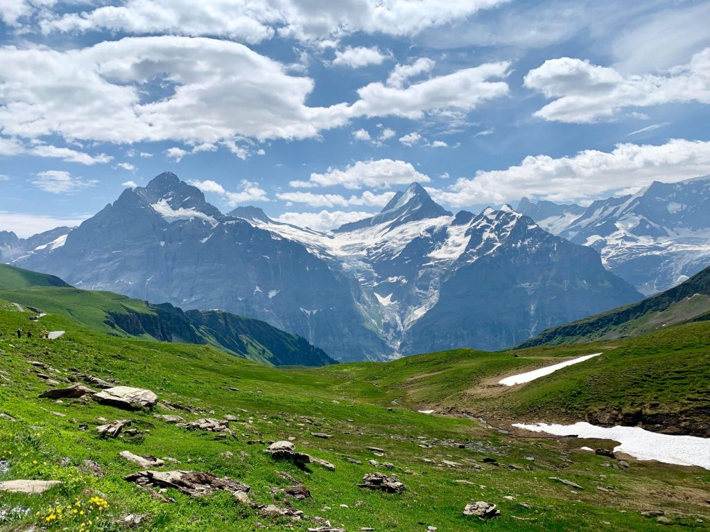 Sharp peaks of the Bernese Oberland visible along the hike