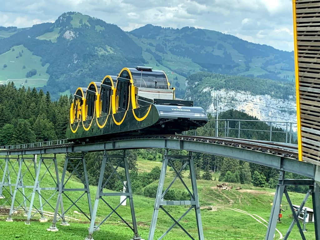 Stoos steepest funicular in the world. Bachalpsee - stunning off beat, non touristy places in Switzerland. Bachalpsee - stunning off beat, non touristy places in Switzerland